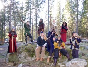 Ungdomsgruppen under ett medeltida lajv